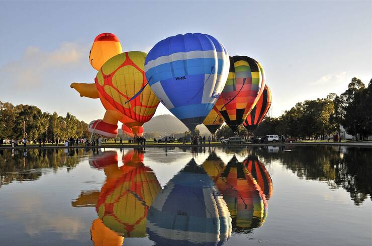Hot air balloons taking flight in Canberra