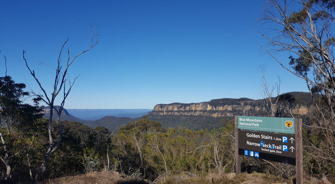 Mountain bike tour view of a valley with bushland and blue sky with a sign to the right that says blue mountain national park