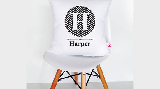 Personalised Kids Monogram Cotton Cushion Cover