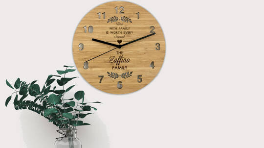 """Time with Family"" Personalised Bamboo Clock"