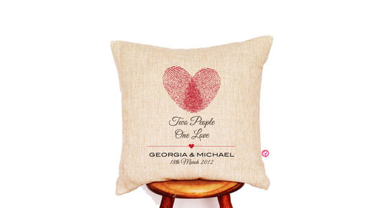 """Two People One Love"" Personalised Linen Cushion Cover"