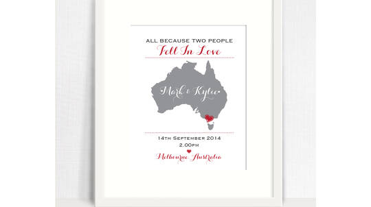 Personalised Wedding Location Print with White Frame