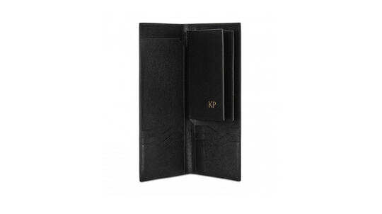 Monogrammed Grainy Leather Travel Wallet and Passport Cover
