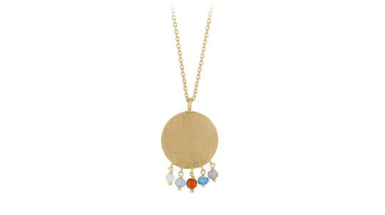 Disc Necklace with Moonstones-Sterling Silver or Gold Plated