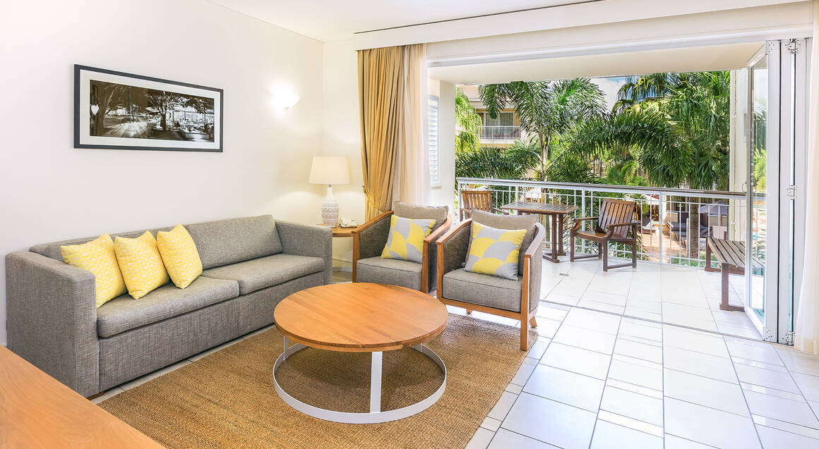 The Sebel Resort Noosa one bedroom apartment living room and balcony