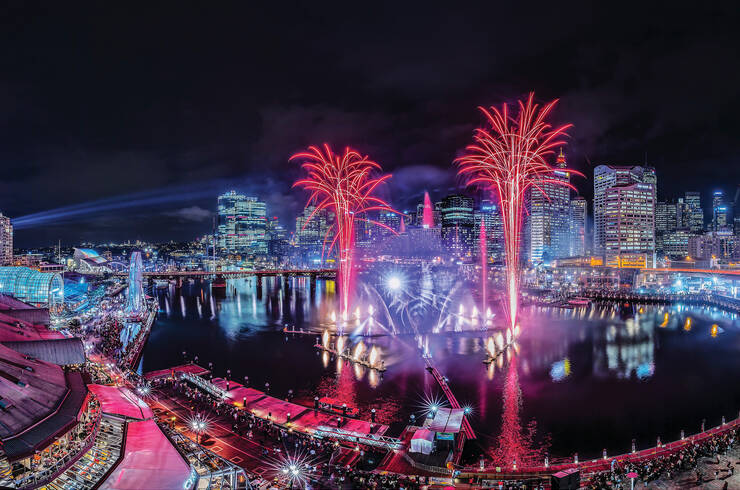Fireworks during Vivid Sydney
