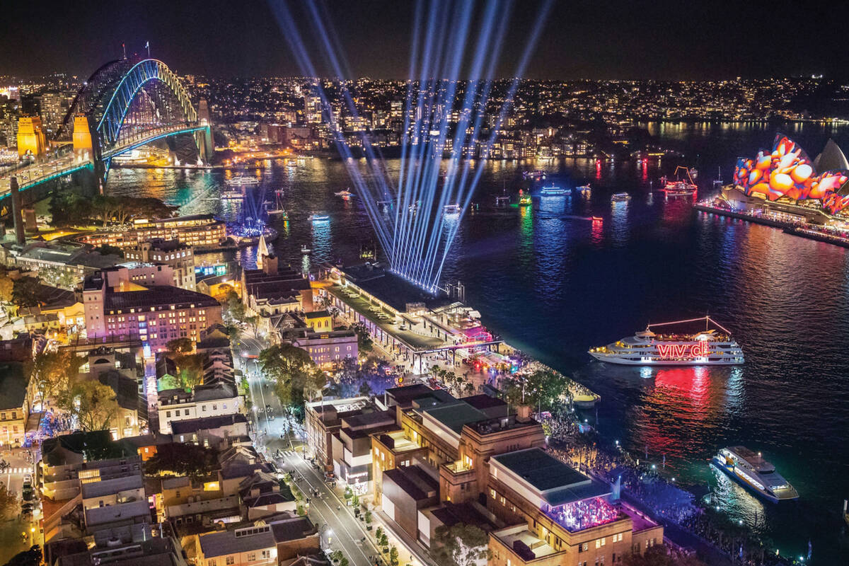 Lights at Circular Quay during Vivid
