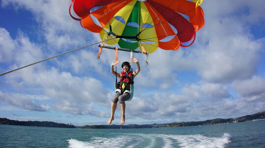 Parasailing Solo Flight in the Bay of Islands