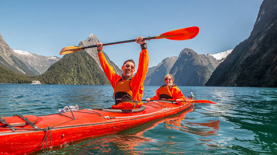 Kayaking on Milford Sound departing Te Anau